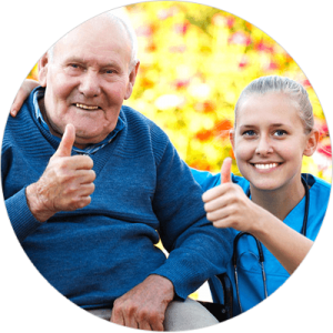 Caregiver and man giving thumbs up