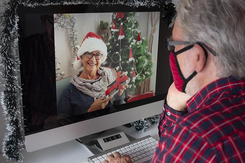 senior man on video call